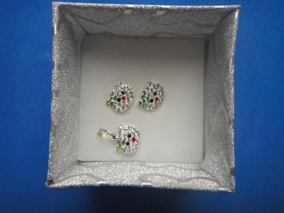 Aretes + Dije Kity Niña Plata 925 Silver Zirconias