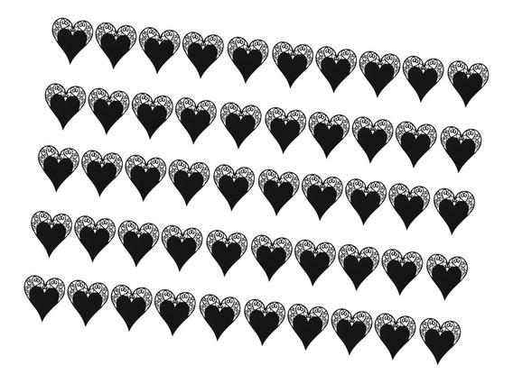 50 Laser Cut Coração Vidro Vinho Place Cartão Casamento B