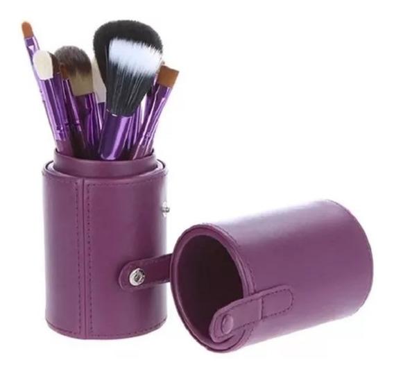 Kit 12 Pincéis Maquiagem Completo Com Copo De Couro Pro Top