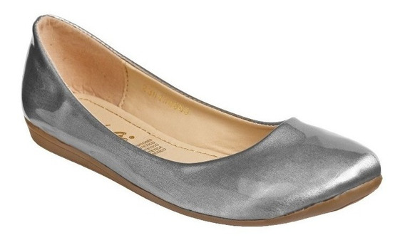 Zapato Mejillitas Flats, Piso Color Silver Plata Charol 434