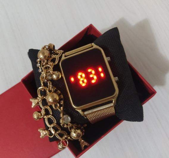 Kit Com 7 Relógios Digital Quadrado+caixas+pulseiras Confira