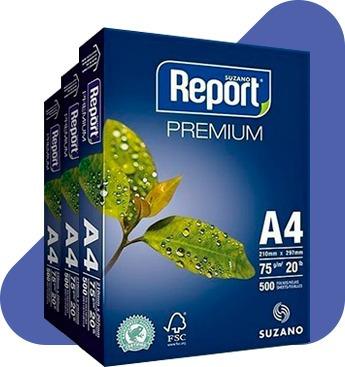 Kit Com 3 Resma De Papel A4 Report 75g 500 Folhas