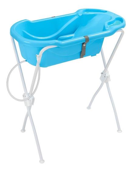 Banheira Bebê Infantil Suporte Azul Ergonômica Tutti Baby