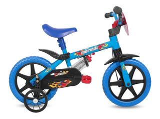 Bicicleta Kids Mormaii Aro 12 Com Rodinhas E Garrafinha
