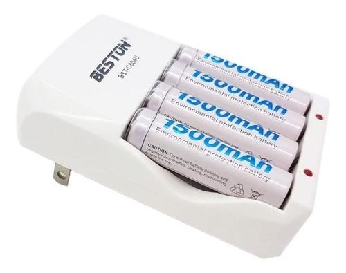 Pila Bateria Recargable Beston Aa 1500 Mah + Cargador