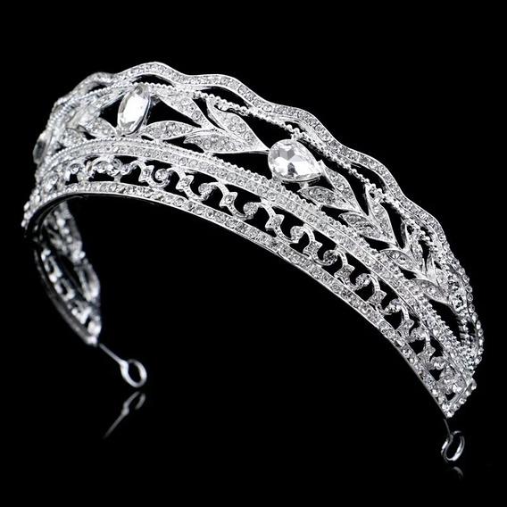 Coroa Noiva Dama Debutante 15 Anos Brilhante Strass Prata D+