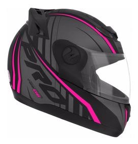 Capacete Feminino Moto Pro Tork 788 G6 Preto Fosco Rosa