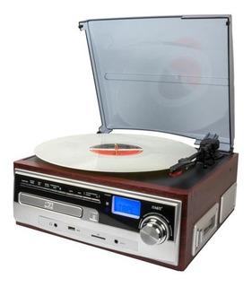 Tocadisco Retro Vintage Usb Am Fm Cd Sd Bt Casette Open Box