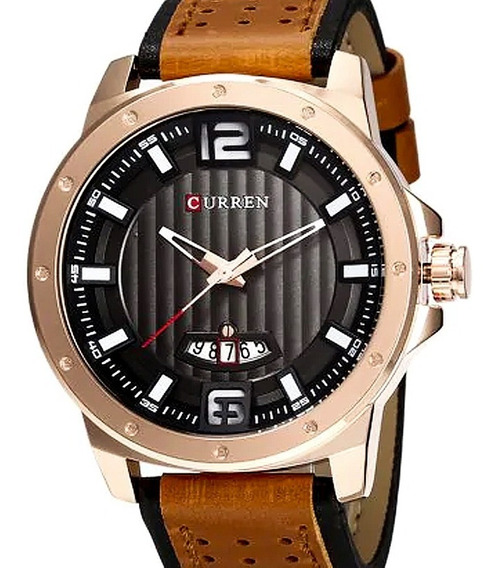 Relógio Masculino Curren Pulseira Couro Garantia Original