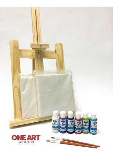 Set Arte Atril Pintura Kit Bastidor Pinceles