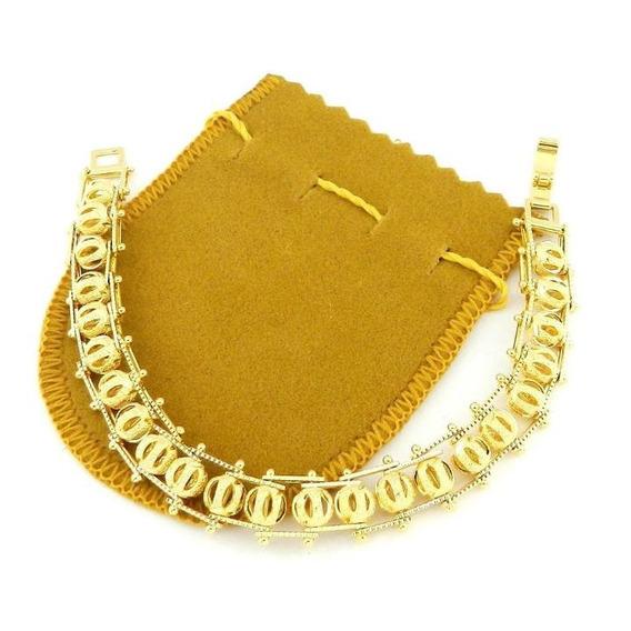 Pulseira Feminina 18cm 1cm Bolinha 10mm Folheada Ouro Pl351
