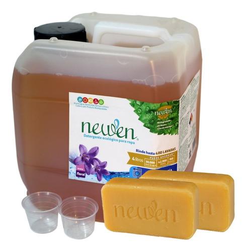 Imagen 1 de 10 de Newen 4 Litros +2 Barras +2 Medidor Detergente Sin Enjuague