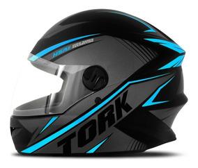 Capacete Moto New Libert Four Pro Tork R8 Fechado Azul Claro