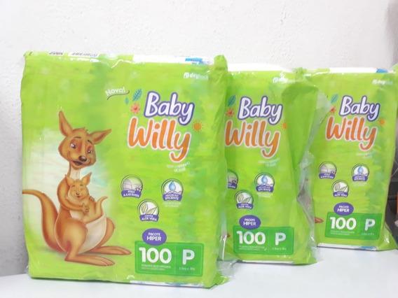 300 Fraldas Baby Willy 3 Pacotes Hiper Tamanho P Promoção