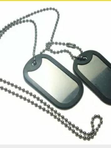 Corrente E Placa Militar Masculina Aço Inox