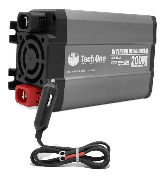 Inversor De Voltagem Tech One 200w 12v Para 220v Conversor