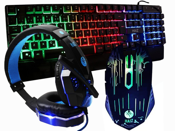 Kit Gamer Haiz Hz31 Teclado Mouse Com Fio 3200dpi E Headset