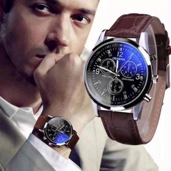 Relógio Masculino Luxo Geneva Pulso Social Pulseira Marrom