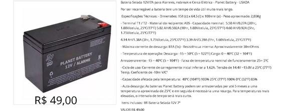Bateria Selada 12v/7a Para Alarmes, Nobreak E Cerca - Usada