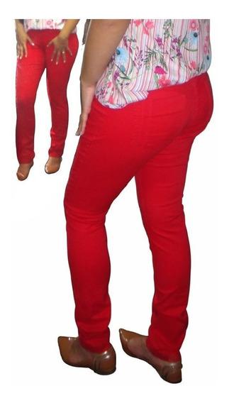Calça Skinny Slim&plus Size Vermelha Com Elastano 34 Ao 52