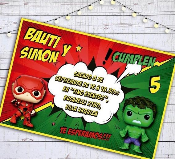 Invitacion Digital E Imprimible Cumple Funko Pop Flash Hulk