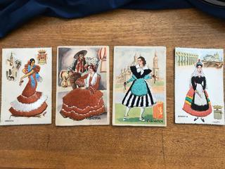 Antiguas Tarjetas Postales Bordadas Españolas