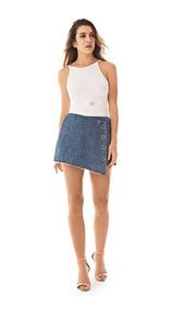 Shorts Saia Feminino Com Botões Jeans Morena Rosa Ref 203864