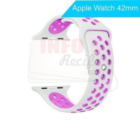 Pulseira De Borracha Branco Com Lilas Apple Watch 42mm