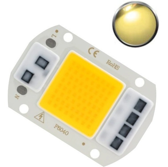 Super Led Chip Cob 50w 110v Branco Quente 3000-3500k