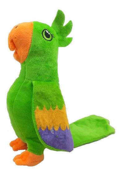 Arara Verde Pelúcia 23 Cm Antialérgico Lavável Papagaio