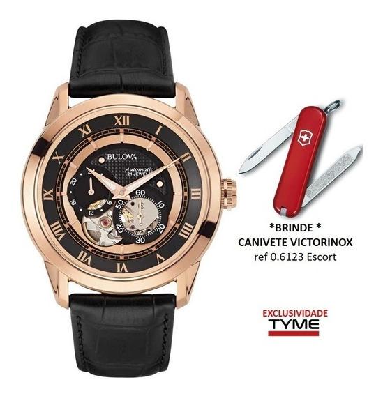 Relógio Bulova Masculino Automático Wb21874p 97a116 +brinde