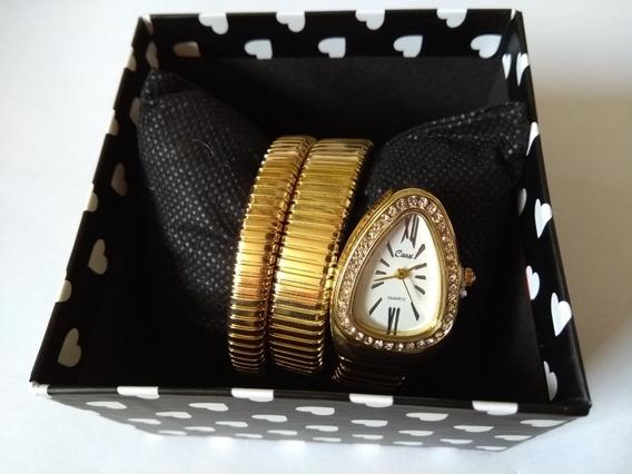 Relógio Dourado De Pulso Feminino Serpente Cobra Cussi Strass Promoção