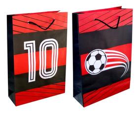 100 Sacolas De Papel Flamengo 25x17x6cm Festa 90g