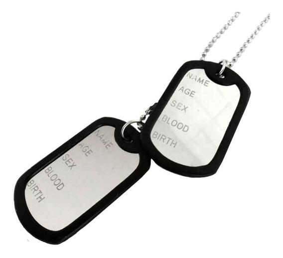 Corrente Placa Identificação Exército Dog Tag Aço Inox 316l.