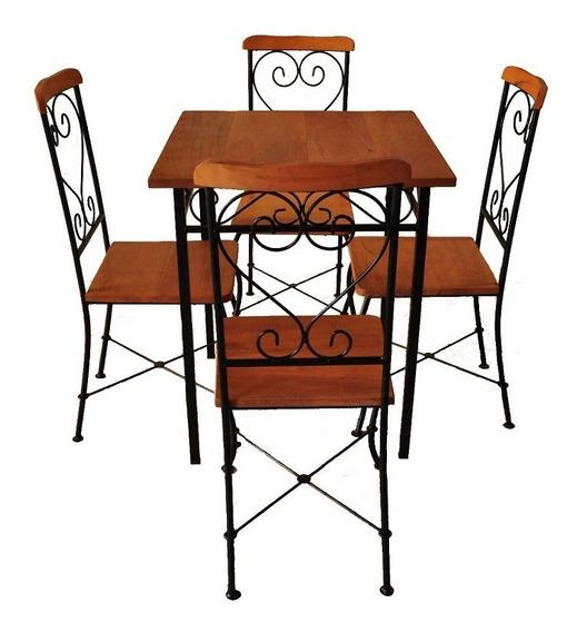 Conjunto Mesa Jantar Retrô 4 Cadeiras Ferro Madeira Cozinha