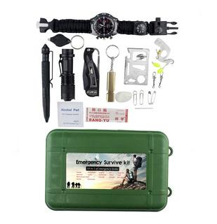 Kit Sobrevivência De Emergência 12-em-1 Multi Ferramenta -c/ Relógio Paracord Bussula Apito E Pederneira -cj003 - C/ Nfe