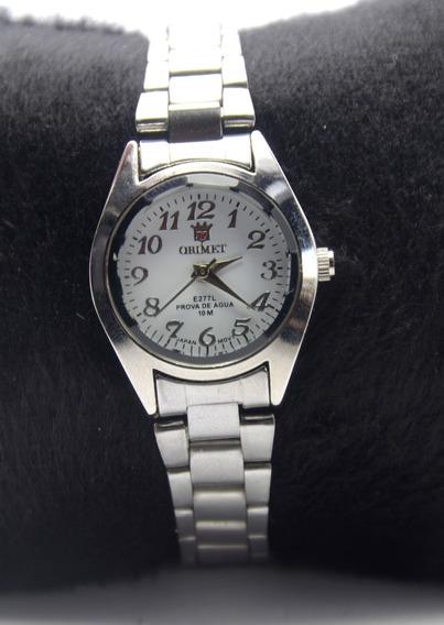 Relógio Feminino De Pulso Prateado Resistente Orimet Barato