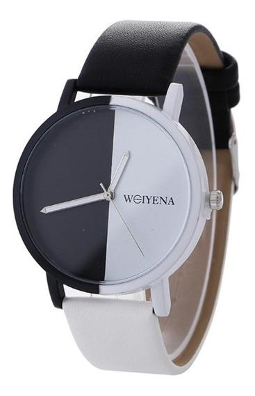 Relógio Pulso Feminino Preto E Branco Couro Pu Luxo