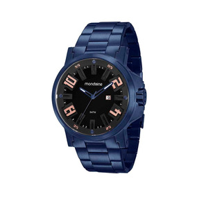 Mondaine Relógio Calendário Pulseira Em Aço Azul
