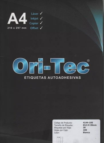 Etiquetas Oritec A4 X25 Hojas Adjesivas Tipò Avery