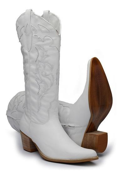Bota Feminina Texana Country Cano Alto 100% Couro
