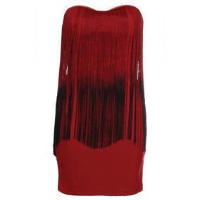 Vestido Fiesta Rojo Vino Con Flecos Talla S