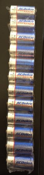 Pilhas Alcalinas Acdelco Média C. Lote C 12 U Frete Grátis