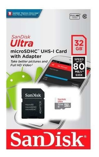 Memoria Sandisk Micro Sd+adapt 32gb Android 80 Mbs
