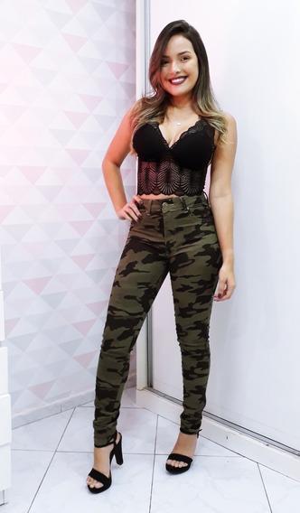 Calça Camuflada Jeans Feminina Hot Pants Cintura Alta Skinny
