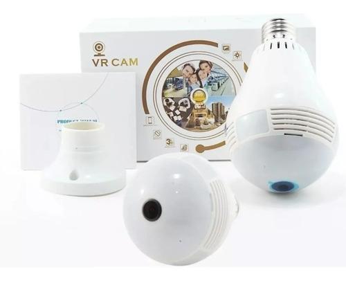 Imagem 1 de 8 de Camera Ip Seguraca Lampada Vr 360 Panoramica C/visão Noturna