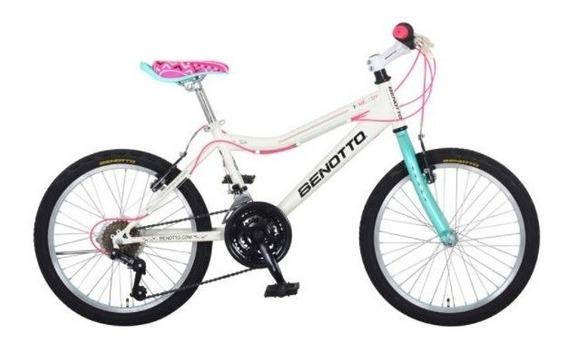 Bicicleta Benotto Melody Mtb Acero R20 21v Niña Sunr Blanco