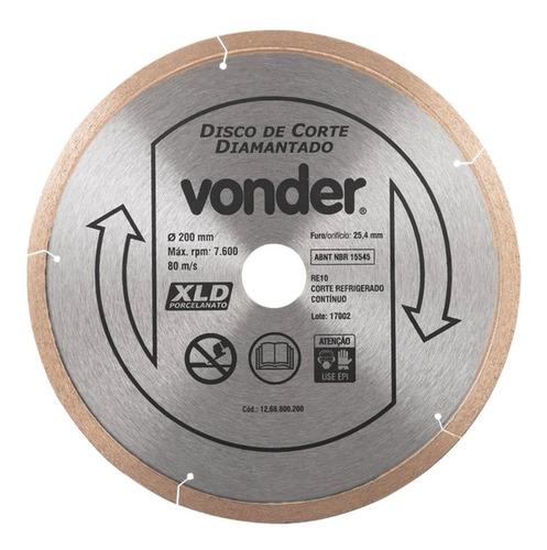 Imagem 1 de 2 de Disco De Corte Diamantado 200mm Contínuo Porcelanato Vonder