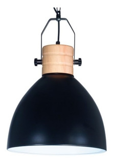 Lámpara Colgante Burgos Chapa Y Madera Apta Led Negro