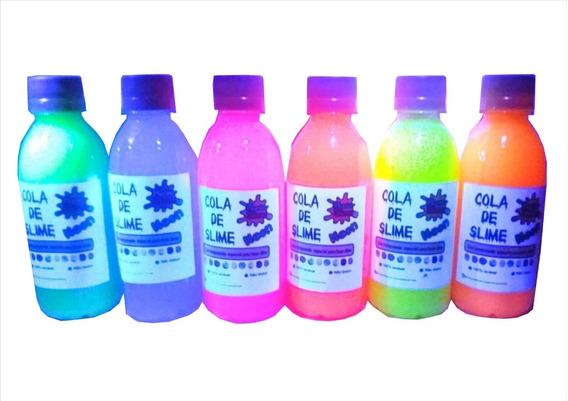 6 Colas Neon Clear Para Slime